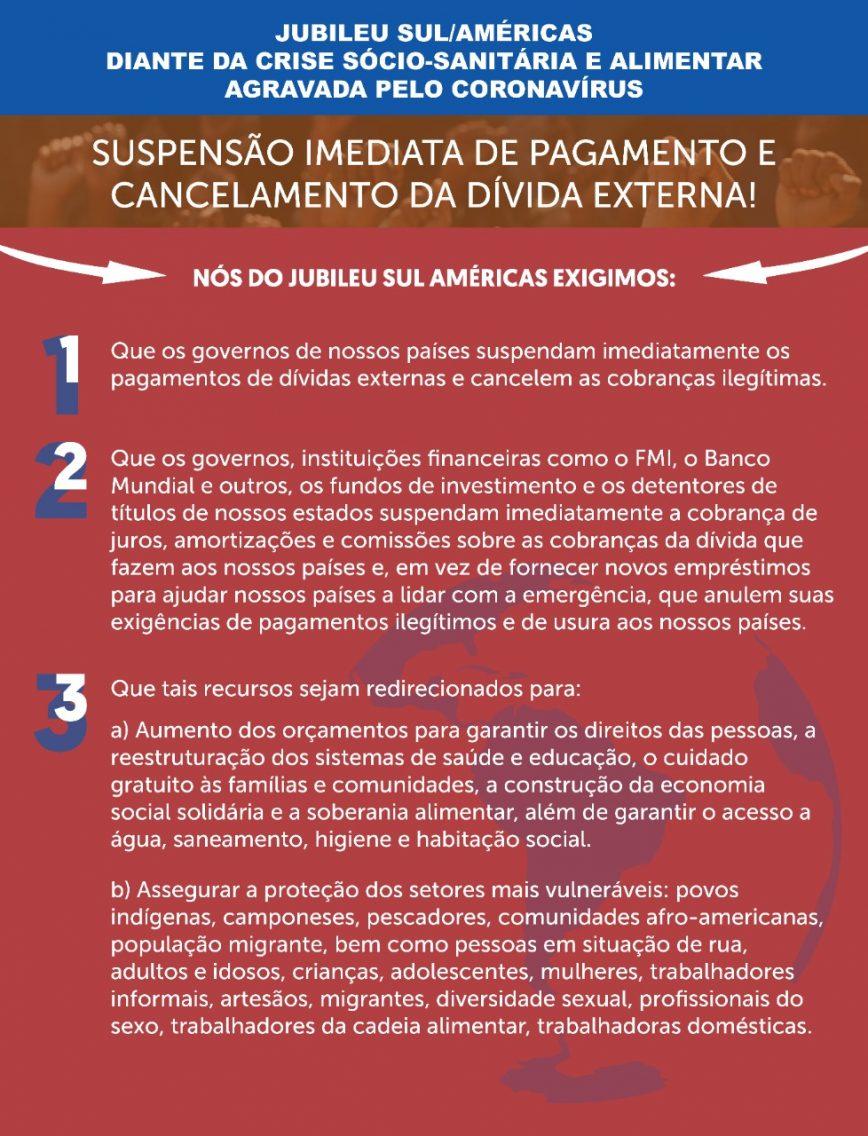 As propostas do Jubileu Sul/ Américas diante da crise sócio sanitária e alimentar agravada pelo coronavírus